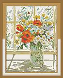 Вышивка картины «Цветы на окне», H244, отзывы