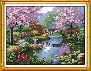 Вышивка картины «Живописный сад», F410
