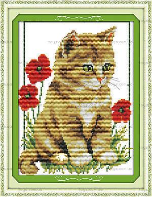 Вышивка картины «Котик в цветах», D304