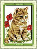 Вышивка картины «Котик в цветах», D304, купить