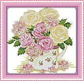 Вышивка картины «Нежные розы» крестиком, H348