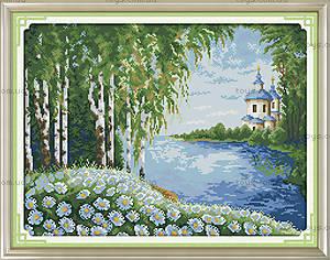 Вышивка картины с пейзажем «Уютная церковь», F383