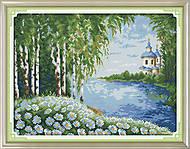 Вышивка картины с пейзажем «Уютная церковь», F383, купить