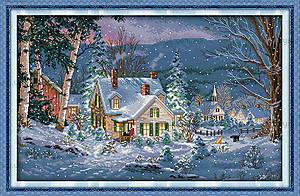 Вышивка картины с пейзажем «Зимний вечер», F395