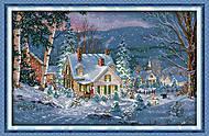 Вышивка картины с пейзажем «Зимний вечер», F395, фото