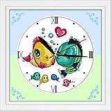 Вышивка крестиком «Часы. Поцелуй рыбок», G007, фото
