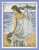 Вышивка крестиком «Девушка на побережье», R358, фото