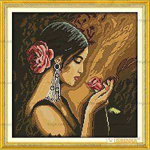 Вышивка крестиком «Девушка с розой», R339