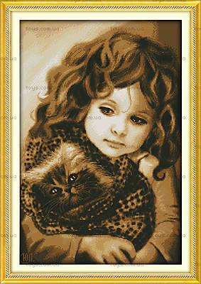 Вышивка крестиком картины «Девочка с котом», R321