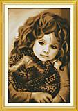 Вышивка крестиком картины «Девочка с котом», R321, фото