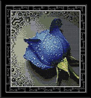 Вышивка крестиком картины «Синяя роза», H023(3)