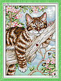 Вышивка крестиком «Кот на отдыхе», D406