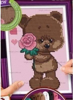 Вышивка крестиком «Мишка с розой», VKB-01-06