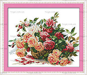 Вышивка и рукоделие «Корзинка с розами», H317
