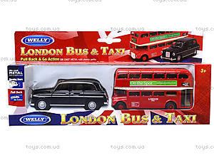 Набор машинок Welly «Лондонский автобус и такси», 99930-2G, фото