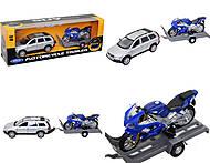 Игровой набор «Машина VOLVE XC90 и мотоцикл TRIUMPH 2002 DAYTONA 955», 39884F-2G(A), интернет магазин22 игрушки Украина