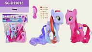 """Игровой набор """"Пони"""" 2 шт с расческой, наклейками, SG-D19018, детские игрушки"""