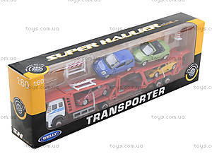 Игровой трейлер с машинками Welly, 79781-10G(G), цена
