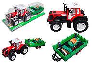 Игрушечный трактор с прицепом для детей, 0488-218