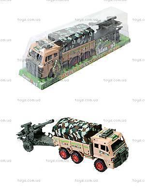 Игрушечный инерционный грузовик с военной техникой, 6107