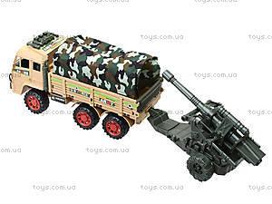 Игрушечный инерционный грузовик с военной техникой, 6107, игрушки