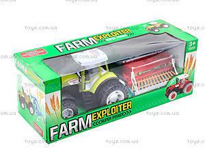 Игрушечный инерционный трактор «Фермер», 0488-206, игрушки