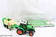 Игрушка инерционный трактор с прицепом, 666-106A, фото