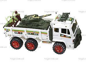 Инерционный игрушечный грузовик с военной техникой, 8832, купить