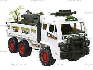 Инерционный игрушечный грузовик с военной техникой, 8832, фото