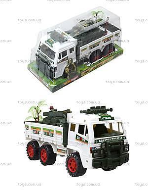 Инерционный игрушечный грузовик с военной техникой, 8832
