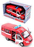 Инерциоонный микроавтобус «Пожарная охрана», 9098-A, игрушка