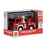 Интерактивная инерционная пожарная машина с серым подъёмником, WY551B