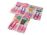"""Закладка-скрепка для книг """"Фламинго, кактус, сова"""" в ассортименте, E-2584-FC, цена"""