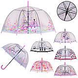 Зонт детский прозрачный с принтом, 6 видов трость 82см, диаметр 80см , UM533, интернет магазин22 игрушки Украина