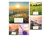 Тетрадь «Летний пейзаж» в клетку на 18 листов (20 штук в упаковке), ТЕ91294, фото