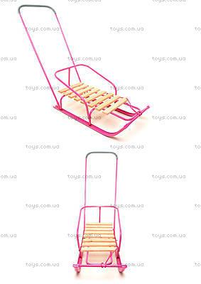 Зимние санки с ручкой, розовые, СД-2Р РОЗОВ